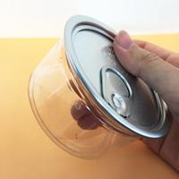Chiara vaso di plastica PET con metallo coperchio ermetico barattolo di latta lattina plastica facili tirare anello asciutto erba fiore imballaggio vaso adesivi personalizzati trasparente