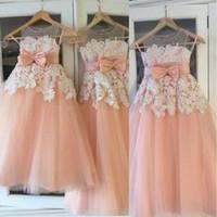 2019 novo pêssego rosa lace tule flor meninas vestidos sheer mangas arco até o chão princesa little kids vestidos de festa de aniversário de casamento