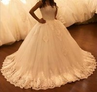 2019 Newest Cheap Ball Gown Wedding Dresses Sheer Lace Squar...