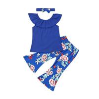 Moda para niños del bebé Establece collar de la ropa de la colmena de la camiseta Tops Flores acampanados pantalones arco de la venda 3 piezas Summer Girl Trajes 1-6Y
