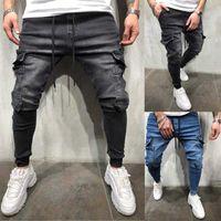 Erkekler Jeans Hip Hop Sweatpants Skinny Motosiklet Denim Pantolon Fermuar Tasarımcı Siyah Kot Casual Erkek Pantolon