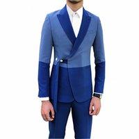 Splice Men Suit 2020 Lastest Fashion Men's Suits Slim Fit 2 Piece Prom Tuxedos Shawl Lapel Tuxedos Blazer Wedding Party