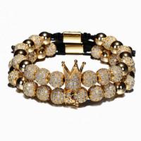 2 шт. / Установить роскошные Crown Charm Men Bracelets 8 мм Micro Pave CZ Круглый плетеный браслет Macrame Bracte Pulseira Feminina Handmade ювелирные изделия женщины подарок