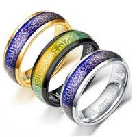 Aço Inoxidável Anel Muçulmano Prata Temperatura de Ouro Sensing Ring Mood Anéis Muhammad Anel Banda Acreditar Desinger Jóias Presente