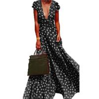 ZANZEA Split Polka Dot Maxi Vestido Largo Verano de Las Mujeres Ocasional Cuello En V de Manga Corta Vestido de Fiesta Vestido de Playa Vestido Sexy Más el Tamaño