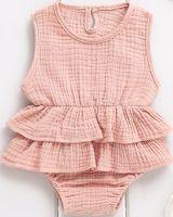 Moda casual slim recém-nascido recém-nascido bebê menina roupas sem mangas swimsuits beachwear tutu roupa 0-2Y linda