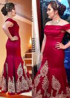 인어 부르고뉴 신부 드레스의 어머니 2019 다시 어깨 지퍼 오프 골드 레이스 Appliques 플러스 크기 웨딩 게스트 드레스 파티 드레스 저렴한
