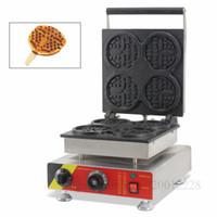 Ticari Yuvarlak Şekil Figürlü Lolly Waffle Makinesi Makinesi ile 4 adet Kalıpları Restoranlar Kafeterya için 110 V 220 V