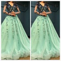 Mint Lace Beaded Arabic 2019 Evening Dresses Long Sleeves V-...