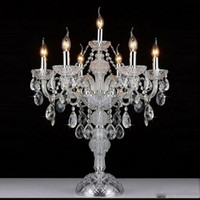 Luxruy europeo E14 candela lampada da tavolo in cristallo 7 teste moda lampada da tavolo in cristallo lampade da soggiorno lampada camera da letto K9 luci da tavolo in cristallo superiore