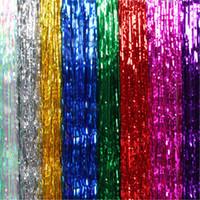 DHL 40 adet Shinny Püsküller Şerit Perde Dekorasyon Renkli Düğün Doğum Günü Partisi Arka Plan Püskül Duvar Düzeni Noel Dekor