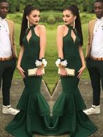 Bella verde Prom Dress 2014 Halter Keyhole collo lungo elegante formale elastico Abiti da sera partito Incredibile Slim Mermaid Prom Dresses 2019