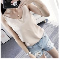 b28084f0dc New Arrival. Satin V Neck Camisole Tank Casual Summer Backless Women Silk Halter  Tops Sexy Sleeveless ...