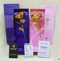 24 Karat Folie überzogene Rose Gold Rose Hochzeitsdekoration Blume Valentinstag Geschenk ohne Sockel