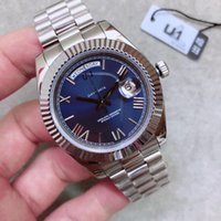 Hot sale U1 factory 40mm Blue Dial President Stainless Steel Bracelet Mens Watch Sapphire Crystal Watches Automatic Mechanical Wristwatches