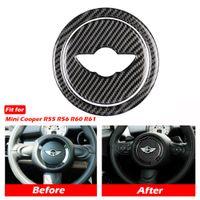 KIPALM Углеродное волокно Автомобиль Рулевое колесо Наклейки Крышка Отделка для Mini Cooper Clubman R55 R56 Counterman R60 Paceman R61 Мини Наклейки