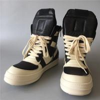 Caliente de la venta-alta calidad exclusiva volcada geo-cesta clásico y botas de cuero genuino de rocas blancas Negro