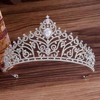 Best Selling High-end Inlaid Rhinestone Zircon Bride Crown Abito da sposa copricapo Principessa Compleanno Fascia Fascia Party Dinner Dress Abito gioielli Fre