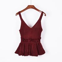 e8ad4e91a9f5c8 Wholesale plain black tank tops online - Sexy Stretchable Knit V Neck Crop  Cami Tops Summer