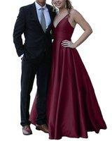 de las mujeres de una línea de raso largo Borgoña vestidos de noche espagueti del traje de soirée personalizada V-cuello Vestidos formales de los vestidos de dulce 16 Abendkleider