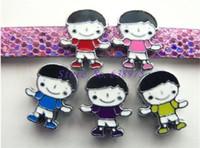10pcs 8mm 5 색 아이 소년 모양 귀여운 슬라이드 매력 DIY 손목 밴드에 대 한