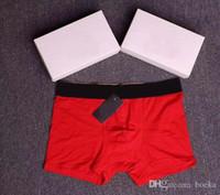 100% hombres del algodón boxer para hombre de la ropa interior atractiva blanca y línea roja del diseñador de moda transpirable elásticas del boxeador bajo las bragas