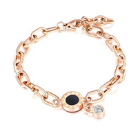 Pulsera de la CZ color rosa en oro número romano para las Girl mujer regalos de joyería ajustable langosta pulsera de acero inoxidable eslabón de la cadena