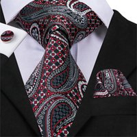 Hi-Tie Business Style Necktie For Men  Paisley Style Ties Pocket Square Cufflinks Set Silk High Quality Gravata C-3009