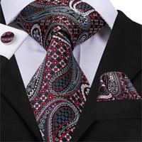 하이 타이 비즈니스 스타일 넥타이 남성용 페이즐리 스타일 넥타이 포켓 스퀘어 커프스 세트 실크 고품질 Gravata C-3009
