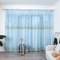 Multicolor Trompete Vorhang Blätter Vorhänge Tüll Fenster Voile Drape Valance 1 Panel Stoff für Wohnzimmer Blackout Dekoration # 45