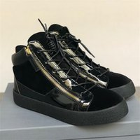 Novo Luxo High-top Frankie Kriss Zipper Sneaker Designer Homens Mulheres Lace-up de couro Trainers Fashion Low-top com Box US5-12