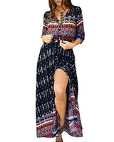AELSON Women' s Summer Boho Beach Dresses Button up Flor...