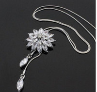 Snow Flower Girl Sweater Chain Zircon Crystal Lotus Accesorios de decoración Al por mayor Moda borlas largas collar femenino