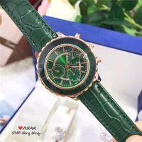 New Top Moda mulher Assista verde / rosa Luxo Couro Genuíno vestido de senhora relógio Esportes Quartzo Relógio de Pulso Vida à prova d 'água transporte da gota
