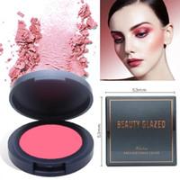 Beauty Glazed Professional Face Mineral Pigment Blusher Corrector portátil Matte Blush Rouge Powder Cake Foundation Larga duración Natural
