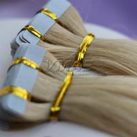 مستقيم # 613 الشريط شقراء في الشعر البشري ملحقات مزدوجة تعادل 2.5 جرام / قطعة 40piece / حزمة الجلد لحمة الشعر