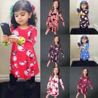 7 estilos do bebê meninas vestido de natal cervos t-shirt do papai noel boneco de neve dos desenhos animados crianças x-mas impressão vestidos de princesa crianças clothing ffa2626