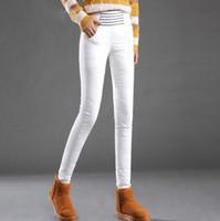 Womens branco para baixo Calças de Inverno de cintura alta Pantalon Femme espessura quente Pant para a mulher preta Calças femininas Calças Mujer Tataria