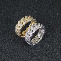GLACÉ anneaux pour les hommes mens hanche designer de luxe hop 8mm engagement or argent zircon cuivre anneau lien cuban cadeau de mariage de bijoux en diamant