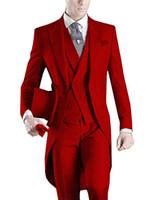 Frack / Morgen Stil Bräutigam Smoking Red Groomsmen Peak Lapel Trauzeuge Anzug Hochzeit / Herren Anzüge Bräutigam (Jacke + Hose + Weste + Krawatte) A529