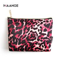 Maange Leopard Cosmetic Makeup Brush Baghållare Multifunktion Portable Travel Kosmetisk Väska Organizer Storage Pocket Bags Make Up Tools Set