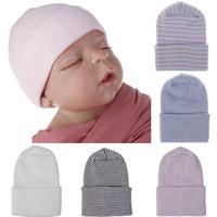 7 لون الوليد شريط قبعة الطفل الكروشيه متماسكة القبعات الرضع الجمجمة قبعات لينة القطن قبعة الشتاء الدافئ كاب الملحقات M567