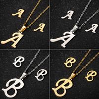 Ciondolo collana lettera iniziale in acciaio inossidabile Jisensp per donna Gioielli personalizzati Set orecchini alfabeto Regalo di compleanno per ragazze
