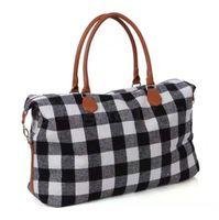 Buffalo Plaid сумка большой емкости Travel Weekender Tote с ручкой PU клетчатый Спорт на открытом воздухе йога сумки для хранения вещевых мешков
