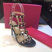 2019 Роскошный дизайн женские босоножки дизайнер гладиаторские сандалии женщин заклепки обувь красные обнаженные сексуальные крайние высокие каблуки насосы 9.5cm пятки большой размер