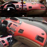 Para estilizar Honda Civic 2005-2011 central interior de la manija de la puerta Panel de control de fibra de carbono Las etiquetas engomadas del coche Accesorio