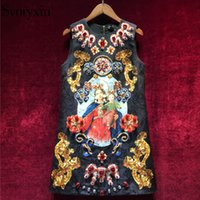 Svoryxiu Vintage Black Dress Mini femmes sans manches de luxe Diamonds Notre Dame Imprimer Ladies Party Runway Dress 2018 Y19012102