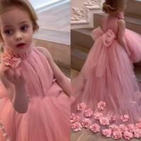 ピンクハイネックチュールAラインフラワーガールズドレス2020 3Dフローラルハイローリトルキッズドレスフォーマルパーティーガールズドレス