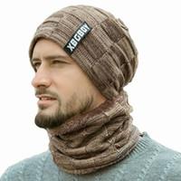Neue Winter-Männer Strickmütze Kopfbedeckung Lätzchen Anzug Caps Plus Velvet dicker Wolle Hut Herbst und Winter Wollmütze czapka zimowa Sombrero mujer