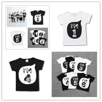 Childs été T-shirt pour enfant en bas âge Enfants Garçons Filles à manches courtes T-shirts Je AM1 6 Nombre Imprimer T-shirts Survêtements & T Famille Frère Tissu D3303
